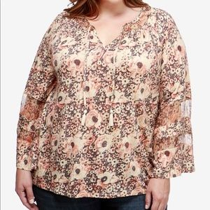 Lucky Brand Bell Sleeve Peasant Top 2X